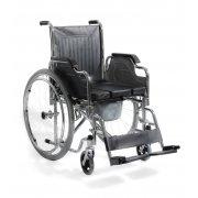 Αμαξίδιο αναπηρικό πτυσσόμενο. Μεταλλικού σκελετού, με προσθαφαιρούμενο δοχείο WC για χρήση τουλέτας. Διατίθεται με φουσκωτούς ή συμπαγείς τροχούς.