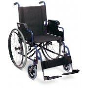 Αμαξίδιο αναπηρικό πτυσσόμενο. Μεταλλικού σκελετού, με αποσπώμενους βραχίονες και υποπόδια. Διατίθεται με φουσκωτούς ή συμπαγείς τροχούς.