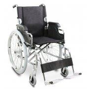 Αμαξίδιο αναπηρικό πτυσσόμενο. Μεταλλικού σκελετού, με δυνατότητα μερικής πτώσης της πλάτης για εύκολη μεταφορά. Διατίθεται με αποσπώμενους (quick release) φουσκωτούς τροχούς.