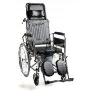 Αμαξίδιο αναπηρικό, πτυσσόμενο, με σκελετό αλουμινίου. Διατίθεται με αποσπώμενους (quick release) φουσκωτούς τροχούς, αποσπώμενους βραχίονες και ανυψούμενα υποπόδια. Φέρει δυνατότητα ρύθμισης της κλίσης της πλάτης του καθίσματος & δοχείο wc.